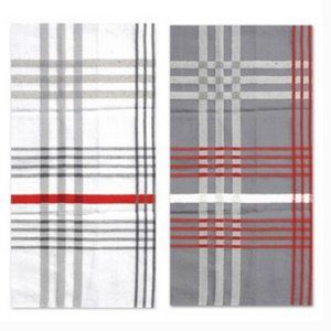 Hotel by Domay Jumbo Tea Towels Gray Red White Set